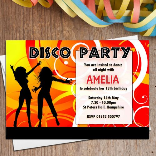 10 Personalised DISCO Dance Birthday Party Invitations N1